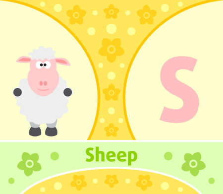The English alphabet with Sheep Vector