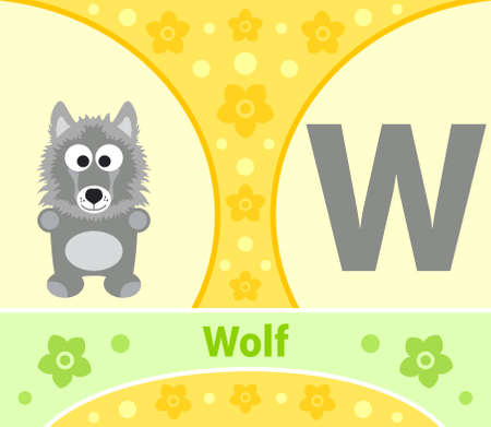 The English alphabet with Wolf Vector