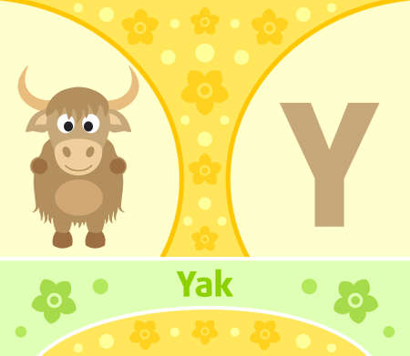 The English alphabet with Yak Vector