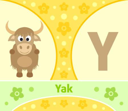 yak: The English alphabet with Yak Illustration