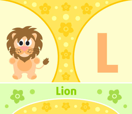 The English alphabet with Lion Vector