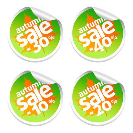 Autumn set with  sale stickers Illustration