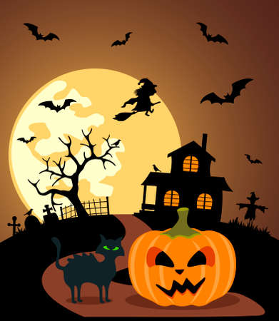 moonlit: Halloween background with Pumpkin and full moon