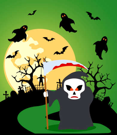 Halloween background with Scytheman and full moon