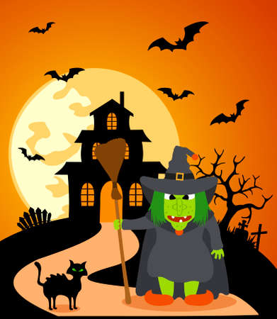Halloween background with Witch and full moon Vector