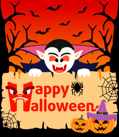 Halloween background card with Dracula Vector