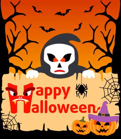 Halloween background card with Scytheman