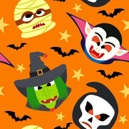 Seamless halloween background with cartoon holiday monster Vector