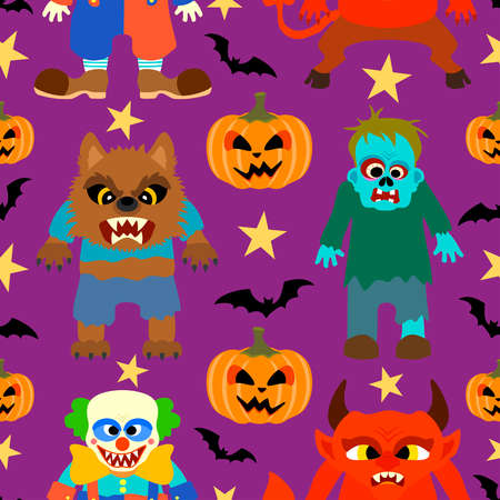 Halloween background seamless with cartoon holiday monster vector Vector
