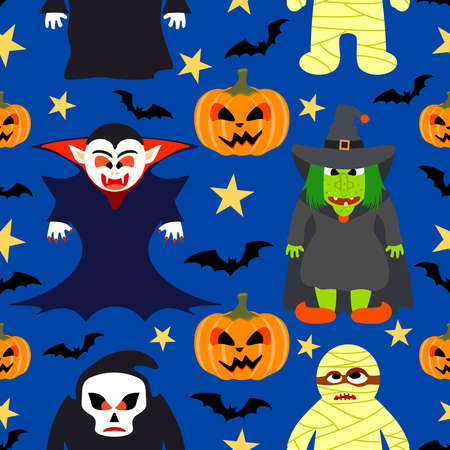 Halloween seamless  background with cartoon holiday monster Vector