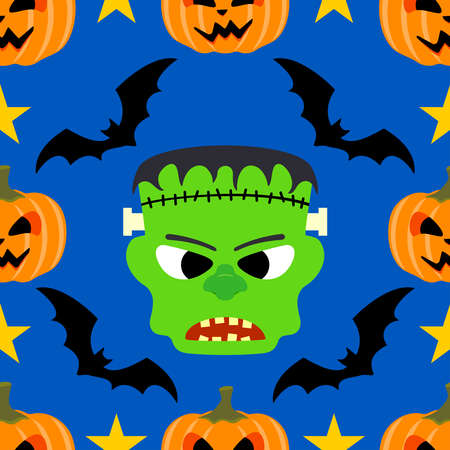 Halloween background seamless with Frankenstein