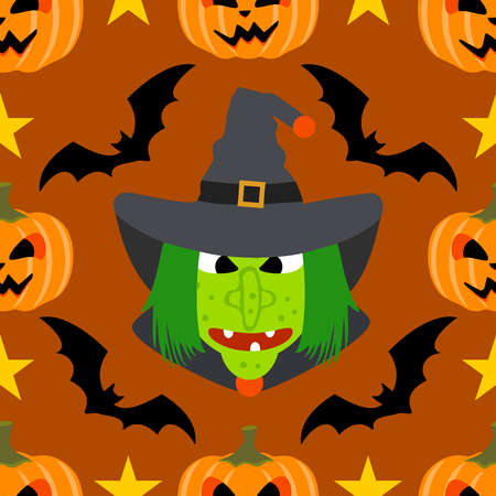 Halloween background seamless with Witch Vector