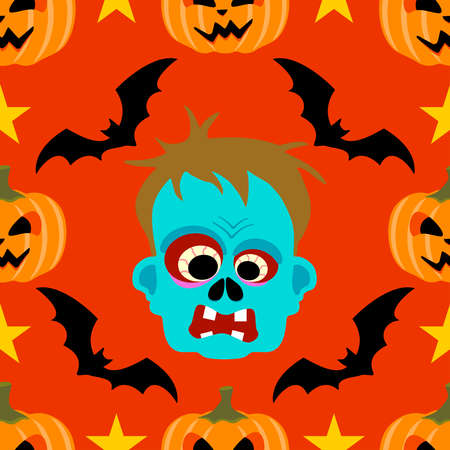 Halloween background seamless with Zombie Vector