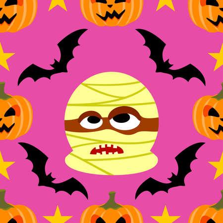 Halloween background seamless with Mummy Illustration