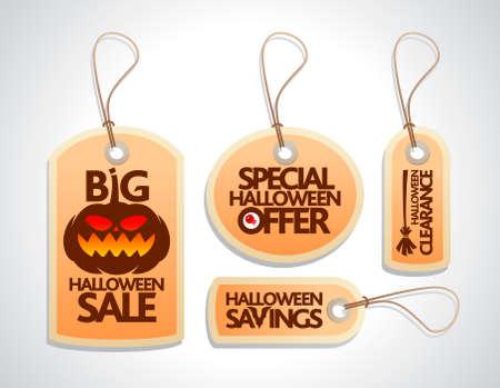Halloween Sale Tags Set orange