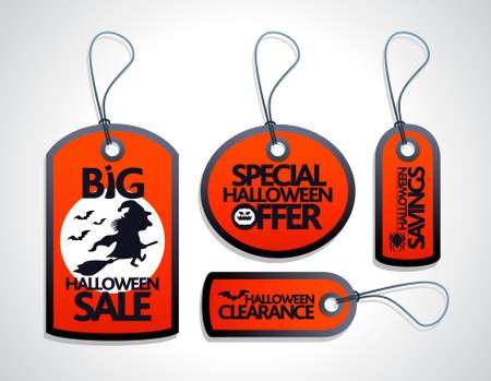 Red Halloween Sale Tags Set Illustration