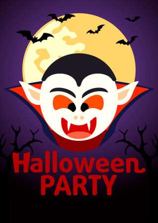 cripta: Halloween Party striscione con Dracula vettore