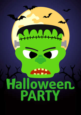 Halloween Party banner with  Frankenstein vector Vector