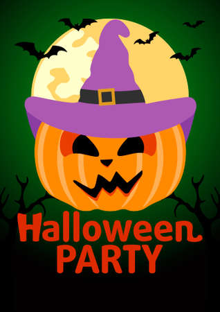 Halloween Party banner with  Pumpkin vector Illustration