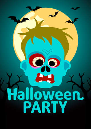 Halloween Party banner with Zombie vector Vector