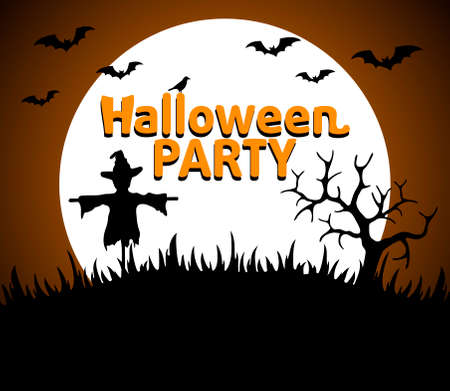 Halloween Party background orange vector Vector
