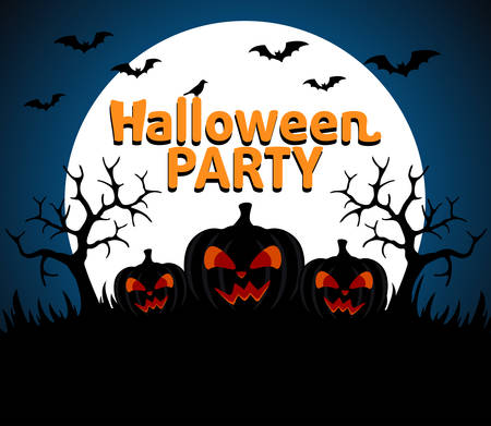 Halloween Party background blue vector Vector