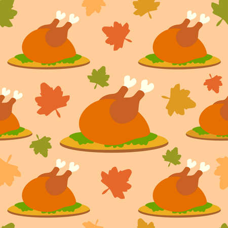 Thanksgiving seamless background with cooked turkey vector Vector