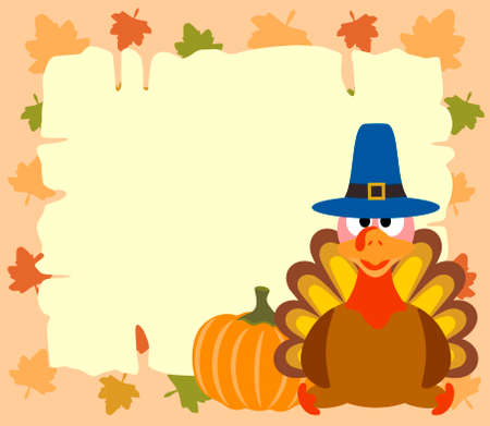 Thanskgiving  background with turkey and pumpkin vector Vector
