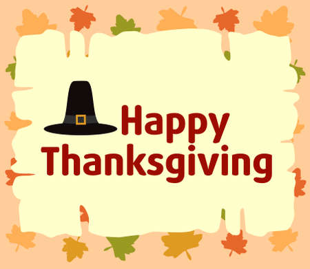 Happy thanksgiving  background with Pilgrim hat vector