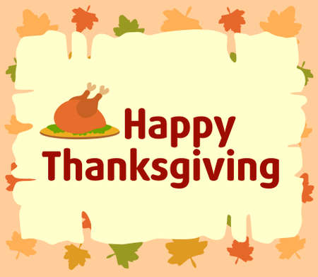 Happy thanksgiving  background with cooked turkey vector Vector