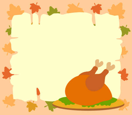 Thanksgiving  background with cooked turkey vector