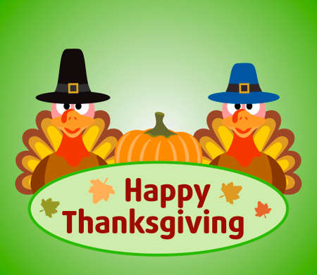 Thanksgiving day background with turkey and pumpkin vector