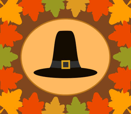 Autumn Thanksgiving  Day background with Pilgrim hat vector