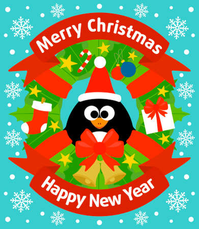 Christmas and New Year background card with penguin