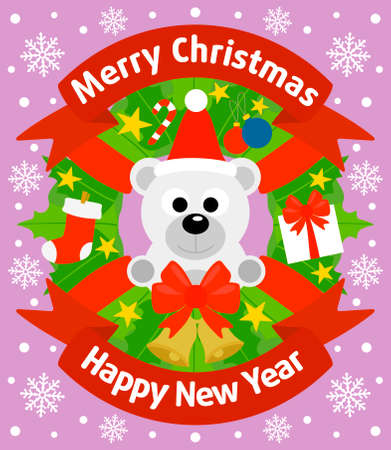 Christmas and New Year background card with polar bear Vector