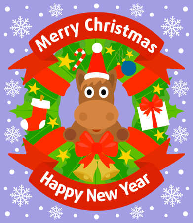 Christmas and New Year background card with horse Vector