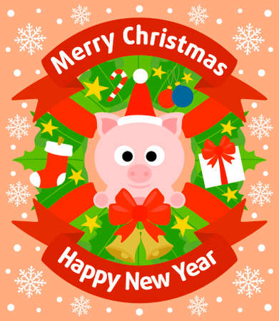 Christmas and New Year background card with pig Vector