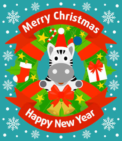 Christmas and New Year background card with zebra Vector