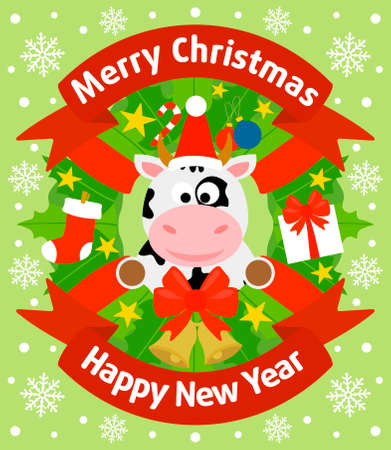 Christmas and New Year background card with cow Illustration