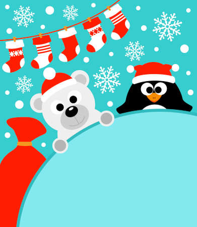 New Year background card with penguin and polar bear Иллюстрация