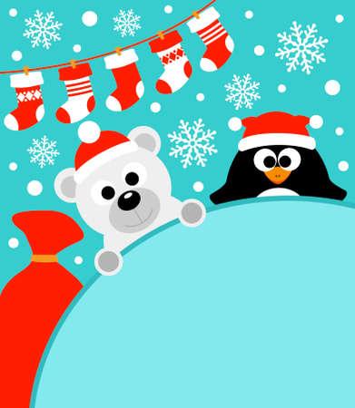 osos navideños: Año Nuevo tarjeta de fondo con el pingüino y el oso polar Vectores