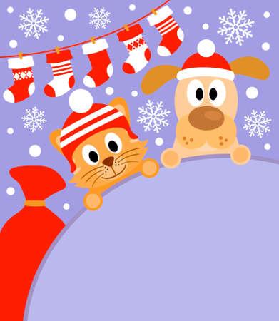 háziállat: Újévi háttér kártya kutya és macska