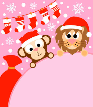 New Year background card with monkey and lion