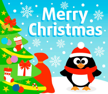 Christmas  background card with penguin Illustration