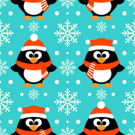New Year seamless background with funny penguin Illustration