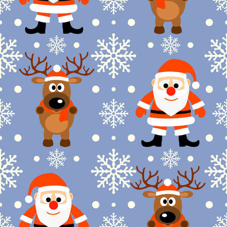 New Year seamless background with funny deer and Santa Claus Vector