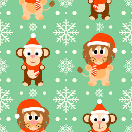 New Year seamless background with funny monkey and lion Vector