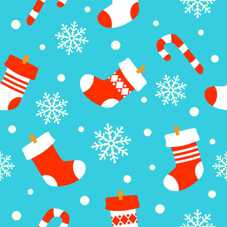 New Year seamless background card , socks with gifts Vector