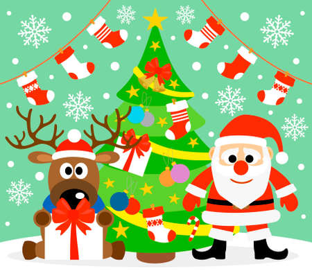 New Year background card with  Santa Claus and deer