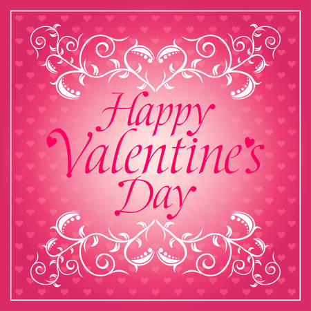 Pink Happy Valentines day background card with flowers Illustration